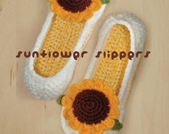 Crochet Pattern Sunflower Women's House Slipper Shoes - Women's sizes 5 to 10 & Sunflower Crochet Applique (SFW01-Y-PAT)