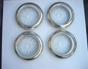 Set of Four 1960 Vintage B-I-STERLING Silver & Glass Starburst Patterned Coasters
