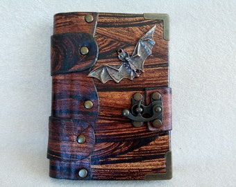LITTLE Handmade Leather Diary with Lock, Journal, Daybook, Memorybook gift for children