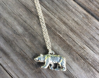 Bear Necklace, Charm Necklace,  Necklace, California Bear Charm
