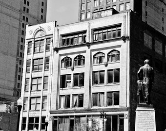 Detroit  Building Fine Art Urban Black and White Photograph on Metallic Paper