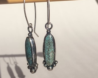 Sterling Silver & Hubei Turquoise Earrings