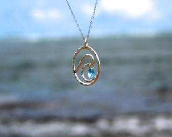 Wave Necklace, Fine Silver, Beach Jewelry, Nautical Jewelry, Gift For Her, Made in Hawaii