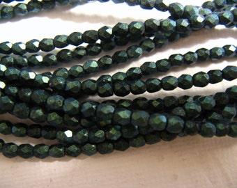 3mm Fire Polish Czech Glass Beads - Polychrome Aqua Teal 94104 - 50 beads