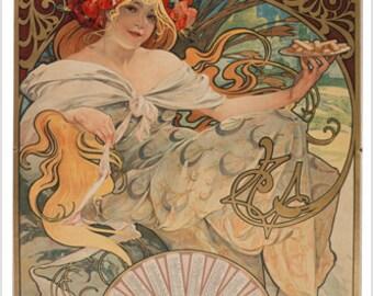 biscuits lefevre-utile VINTAGE POSTER 1897 Alphonse Mucha 24X36 lovely