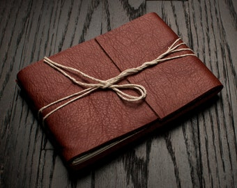 Leather Journal or Leather Sketchbook, Medium Sized, Redwood Brown Leather Handbound Notebook
