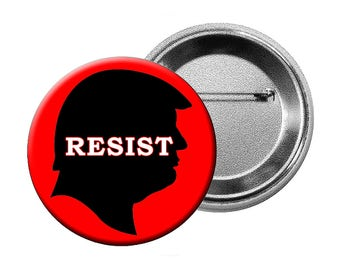 "Anti-Trump Pins or Magnets - 6 Different ""Anti-Trump"" Designs Choose various quantities of L Buttons, L Magnets, or Small Buttons"