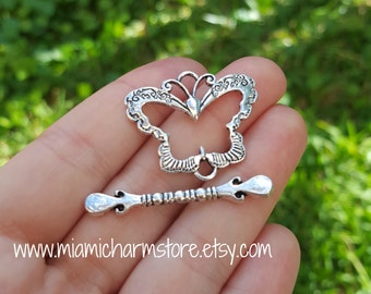 5 Sets of Butterfly Toggle Clasp, Silver Tone B71883