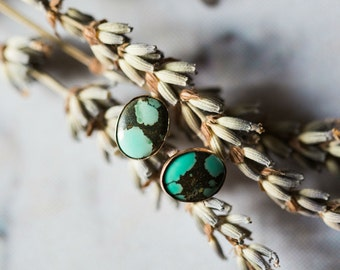 CLEARANCE - Oval Turquoise Earrings - Silver or Gold Studs - Semi Precious Stones, December Birthstone, Protective Charm - Simple Bohemian