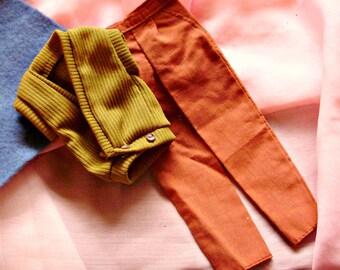 Ken 1980 *FASHION COLLECTIBLES OUTFIT* #1378 Knit Sweater Vest & Burnt Orange Pants -Superstar Best Buy Outfit  -Vintage Barbie