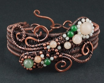Aventurine, Amazonite and Copper Woven Bracelet - CLEARANCE