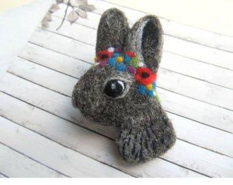 Rabbit brooch Funny gift for girl Needle felted bunny Rabbit jewelry Animals miniature Felt animal Woodland animals Custom portrait