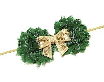 Green and Gold Headband for Girls, Irish Girls Headband, Tartan Headband, Irish Plaid, Gold Bow, Shabby Flower Headband, Shabby Plaid Rose