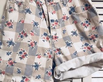 vintage high waisted floral shorts