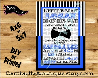 baby shower Invitation Bowtie boy baby shower Invitations Custom imagination Birthday invite 4x6 or 5x7 Digital OR Printed with envelopes