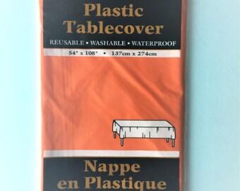 Large solid plastic tablecloth orange