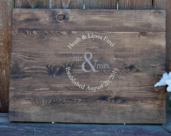 Wedding Guest Book Wedding Guestbook Wedding Sign In Board Custom Guest Book Wood