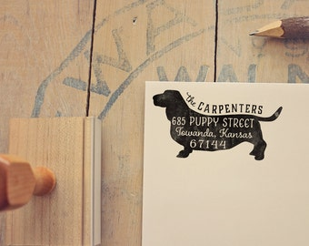 Basset Hound Return Address Stamp, Housewarming & Dog Lover Gift, Personalized Rubber Stamp, Wood Handle