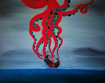 """Octopus Squid Sea Creature Modern Home Decor Ocean Boat - Life of a Viking - 24""""x30"""" Original Abstract Acrylic Painting on Canvas"""