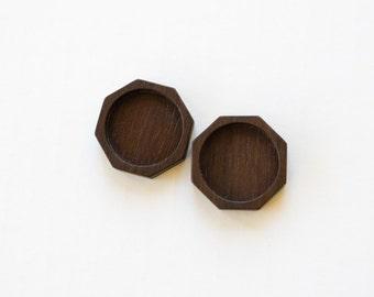 "USA Made NO Laser Hardwood Trays - Octagon - Walnut - 25.5 mm cavity - 1""- (O825-W) - Set of 2"