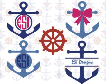 Anchor SVG, DXF EPS, Vinyl cut files for use with Silhouette Cameo and Cricut Explore machines. Circle monogram frames.