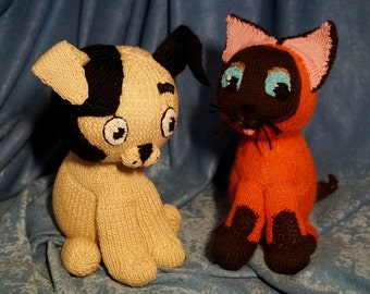 Toys Cat and Dog Knitted soft toys for friends Knitted toys Cat and Dog Stuffed toys Dog and Cat Russian cartoon Knitted animals Handmade
