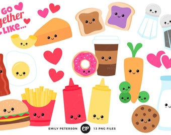50% OFF SALE! Valentine's Day Clip Art, Perfect Pair Clipart, Kawaii Food Clip Art - Commercial Use, Instant Download