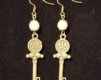 Steampunk Pearl and Antique Gold Key Earrings