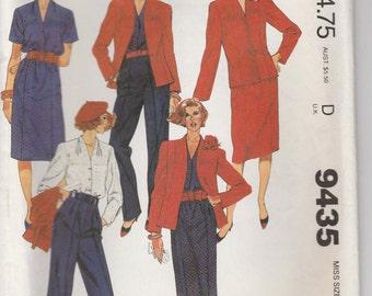 Skirt Pattern Pants Shirt Lined Jacket Wardrobe Misses Size 14 Uncut McCalls 9435