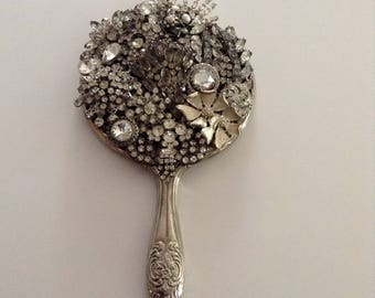 Vintage hand held mirror, silver plated mirror, rhinestone jeweled mirror, gift for bride, birthday, mom, one of a kind, dazzling jewels