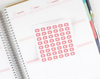 Social Media Hand Drawn Youtube Icon Inspired Life Planner Stickers, perfect for Erin Condren, Happy Planner, Inkwell press