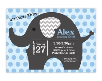 Elephant Invitation - Gray Baby Blue Polka Dots, Cute Little Elephant Personalized First Birthday Party Invite - a Digital Printable File