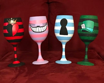 Alice in Wonderland Hand Painted Glasses