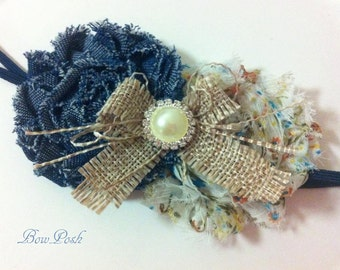 Ana- Chic Headband Denim Headband Flower Headband Baby Headband Girls Headband Country Chic Headband Burlap Headband
