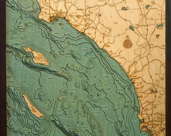 "Los Angeles/San Diego 24.5"" x 31"", Laser-Cut, 3-Dimensional Topographic Wood Chart/Lake Art Map"