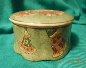 Made in China ~ Porcelain Trinket Box ~ Tassle design