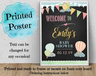 PRINTED Welcome Poster, 11x14, 16x20, 18x24, Hot Air Balloons, Pastels, Birthday, Bridal or Baby Shower, Chalkboard Look, Ready to Frame