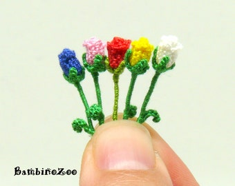 Miniature amigurumi crochet rose flower, roses are sold individually - choose quantity and color at checkout.