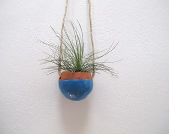 Home and Garden Terracotta hanging planter pot vase with bright blue glaze - perfect for air plant, succulent or cactus