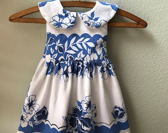 Little Girls Dress, Vintage Fabric, Vintage 1930's Tablecloth, One of a Kind, Size 18 month, Summer Beach Dress, Blue Floral Print Childs Dr