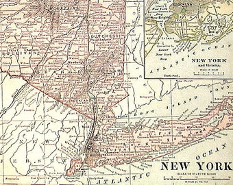 Large New York Map - 1898 Antique Map US State Map - with Buffalo, Niagara Falls, New York and Vicinity, Northern Part of New York - 19 x 12
