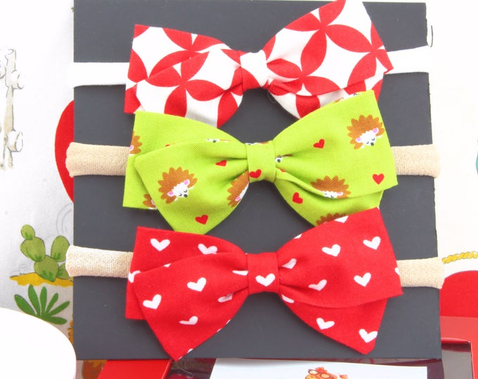 Valentine Gift For Baby Girl - Valentine Hair Bows for Girls - Nylon Headbands