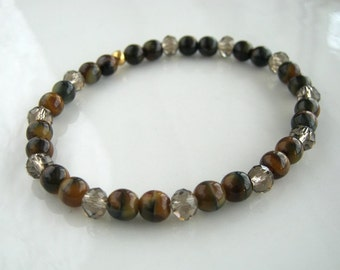 Crystal and Marble Brown Stretch Bracelet Marble Czech Glass Bracelet Marbled Bracelet