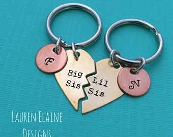 Big Sis, Lil Sis Hand Stamped Broken Heart With Initials Keychain Set- In Brass, Copper, or Aluminum- Sister Gift
