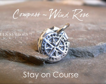 Wax Seal Jewelry, STAY on COURSE, Antique Wax Seal COMPASS Pendant,  Compass Rose  Talisman  or Wind Rose Necklace,  North Star, Polaris