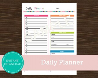 Daily Travel Planner - Travel Planner - Printable and Editable - Vacation Planner - INSTANT PDF DOWNLOAD - Daily Planner
