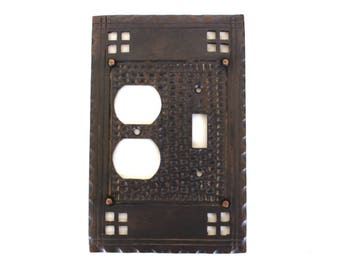 Arts and Crafts Mission Bungalow Duplex Outlet w Single Switch Plate