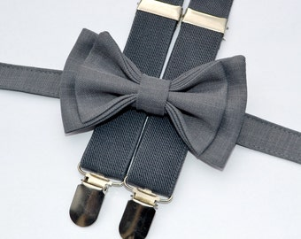 Charcoal Gray Bow Tie & Charcoal Gray Suspenders for Baby Toddler Boy Men