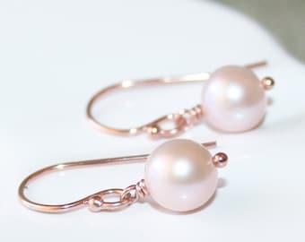 Dainty Pink Pearl Drop Earrings, Genuine Freshwater Pearls, 14K Rose Gold filled, Small Pearl Earrings, June Birthstone, Bridesmaid Gift