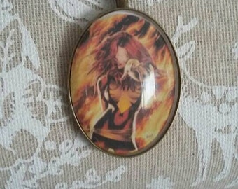 Jean Grey Phoenix cameo necklace